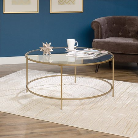 Glass Metallic Coffee Table (Sauder International Lux Round Coffee Table, Satin)