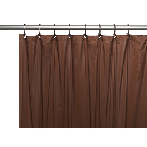 3 Gauge Vinyl Shower Curtain Liner w/ Weighted Magnets and Metal Grommets in Brown