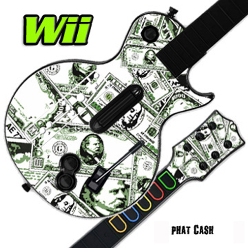 Mightyskins Skin Decal Cover for GUITAR HERO 3 III Nintendo Wii Les Paul - Phat Cash