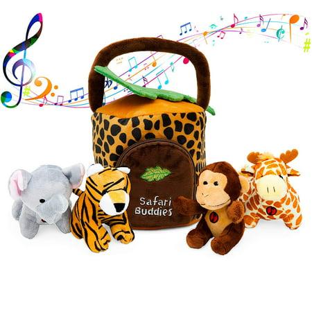 Plush Talking Jungle Animals Toy Set Plush Creations (5 Pcs) | Baby Stuffed Animal Set Includes Elephant, Monkey, Lion, Tiger Plush Carrier/Organizer | Great Gift Boys, Girls, Baby Shower](Monkey Plush Toy)