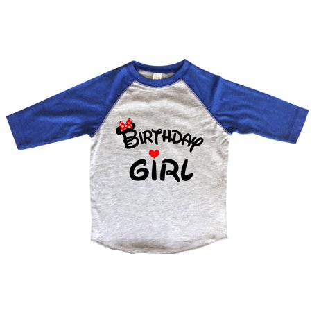 "ec93d46a Girls Disney Birthday Raglan ""Birthday Girl"" Minnie Mouse Bow Toddler &  Youth 3/4 Sleeves Baseball Tee X-Large, Blue - Walmart.com"