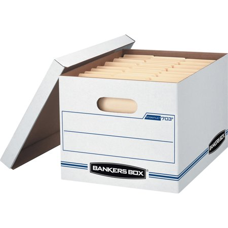 Bankers Box, FEL00703, Basic-Duty Stor/File Boxes, 12 / Carton, White,Blue Bankers Box Stor Drawer