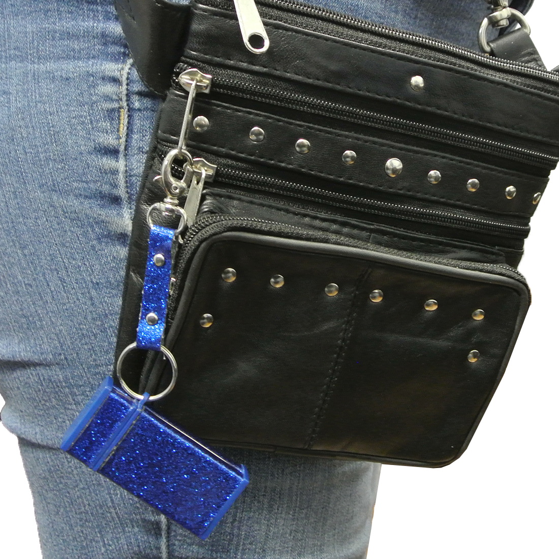 d00c8ee5320c Texcyngoods Leather Belt Bag Studded Fanny Pack Converts to Cross Body Purse
