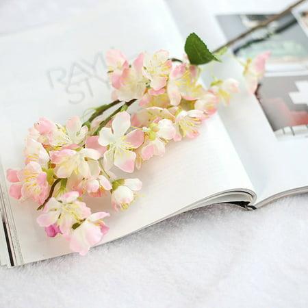 Cherry Blossom Bouquets (Fancyleo 1Pc Artificial Cherry Spring Plum Blossom Branch Silk Flower Home Wedding Decorative Bouquet Flowers)