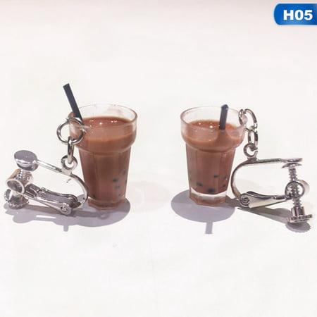 AkoaDa Unique Bubble Tea Drop Earrings Resin Milk Tea Drink Earring For Girl (Good Girl Milk Drops)