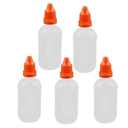 Unique Bargains 5Pcs 50ml Dropper Clear Plastic Bottle Drop Eye Liquid Squeezable Empty Red Cap