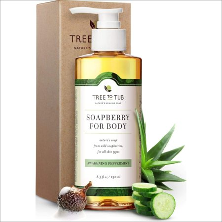Clarifying Peppermint Body Wash by Tree to Tub - pH 5.5 Balanced Body Wash with Wild Soapberries, for Sensitive, Oily or Acne Prone Skin. Vegan and Cruelty Free 8.5 oz