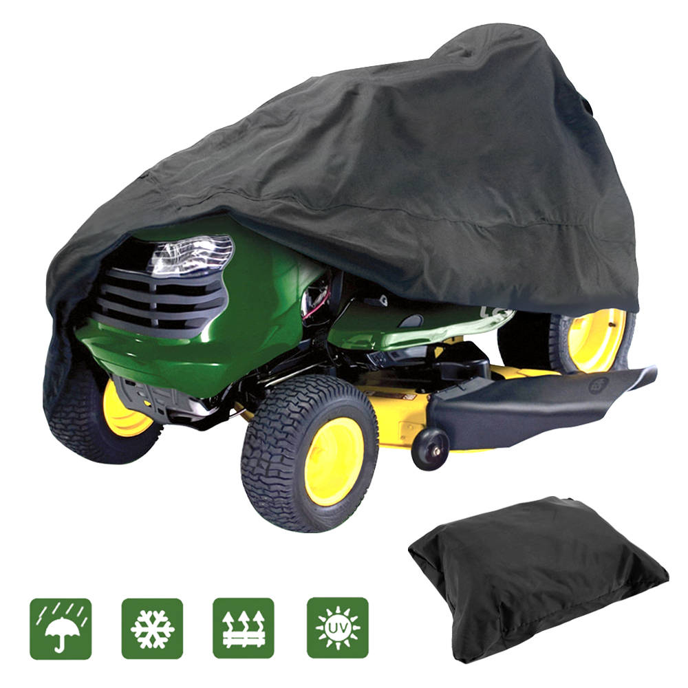 "IClover Lawn Mower Cover,Waterproof Riding Mower Cover Heavy Duty Mildew Resistant UV Protection Tractor Covers Drawstring Universal Fits Decks up to 54"" & Storage Bag - Black Big Size"
