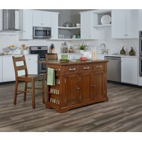 Country Kitchen Island with Drop Leaf and 2 Stools in Vintage Oak