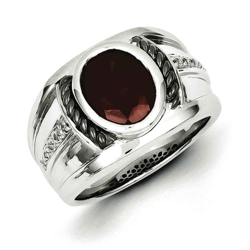 Sterling Silver Garnet & Diamond Oval Black Rhodium-plated Men's Ring by Kevin Jewelers