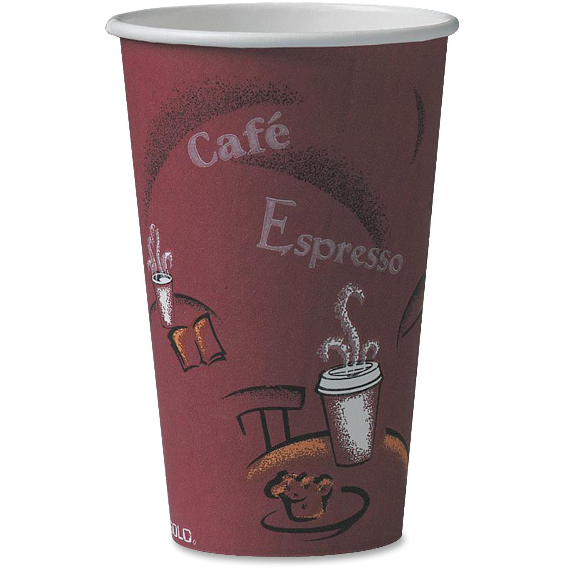 Solo, SCC316SI0041, Bistro Design Disposable Paper Cups, 50 / Pack, Maroon, 16 fl oz