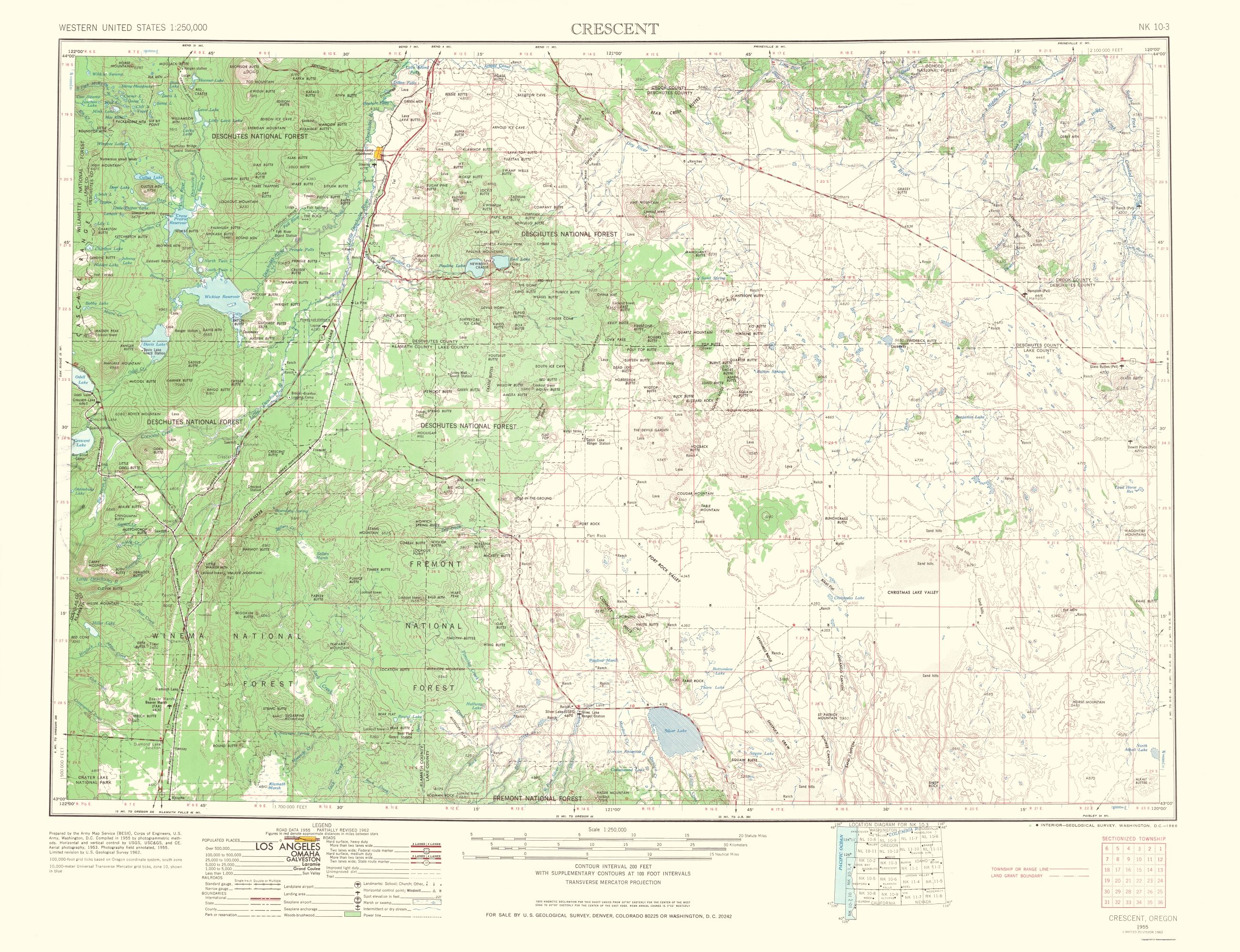 Topographical Map Print Crescent Oregon Usgs 1966 23 X 29 94