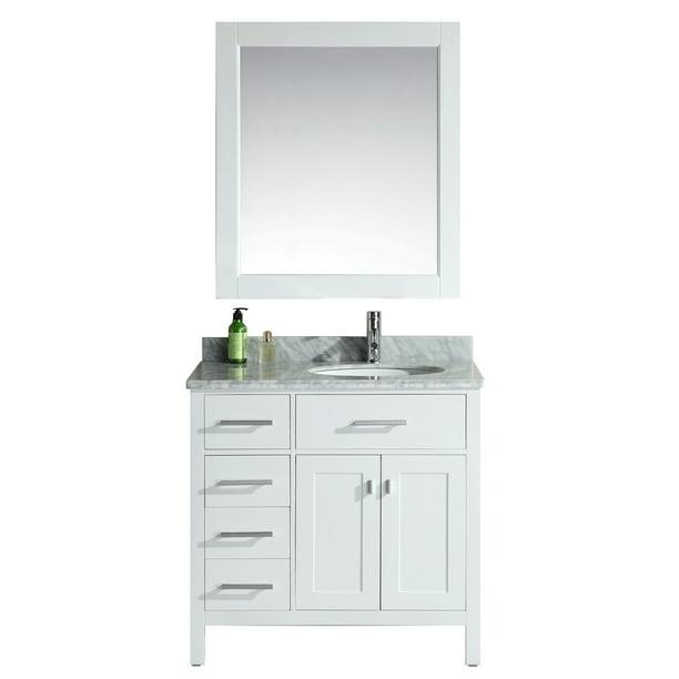 Design Element London 36 Single Sink Bathroom Vanity Set In White With Drawers On The Left Walmart Com Walmart Com