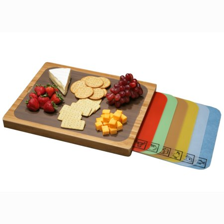 Bamboo Cutting Board w/ 7 Color-Coded Cutting Mats with Food Icons Set by Seville Classics