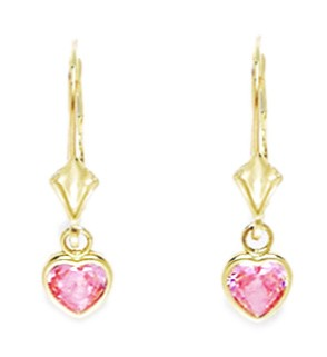 14k Yellow Gold October Pink Cubic Zirconia Heart Drop Leverback Earrings Measures 23x6mm by