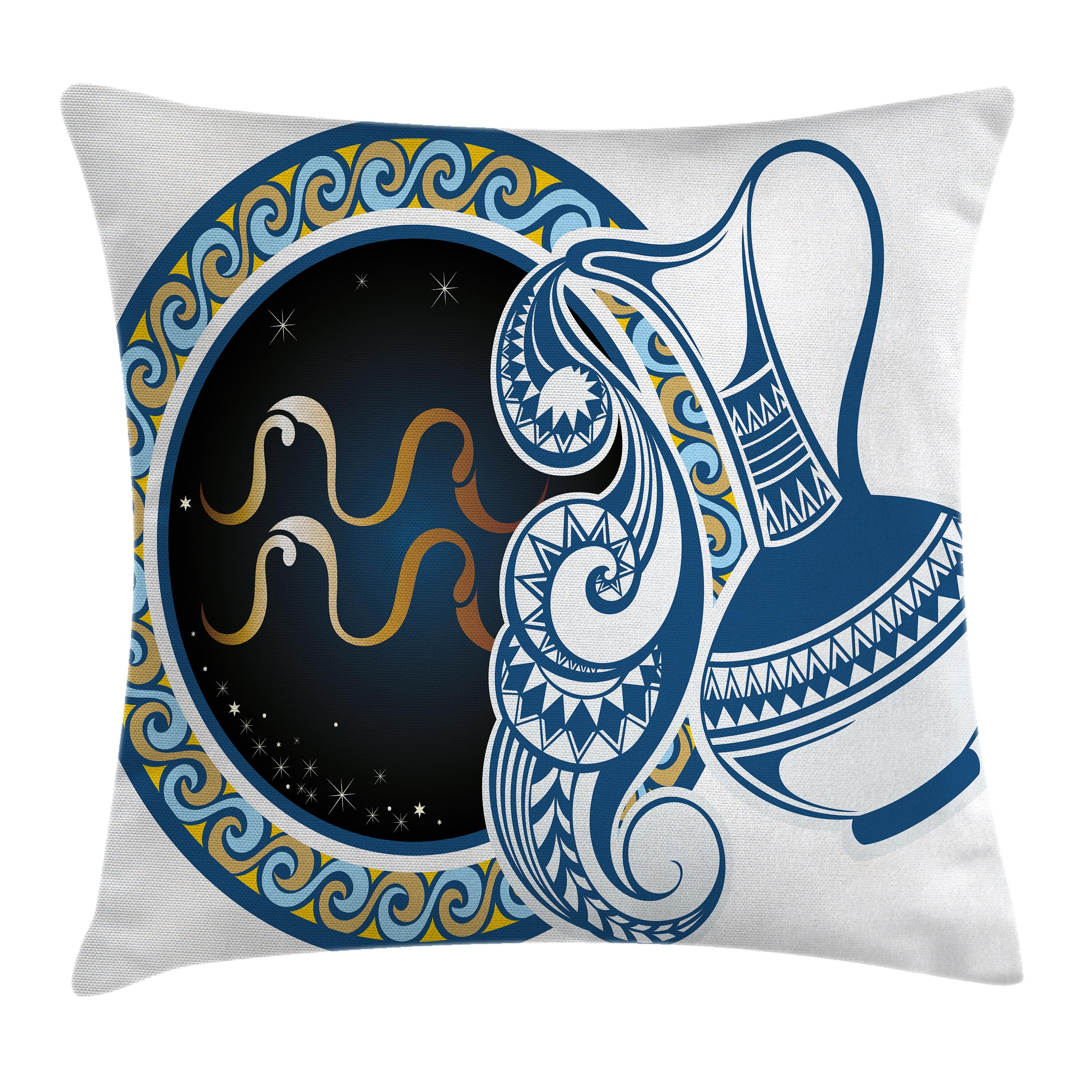 Zodiac Decor Throw Pillow Cushion Cover, Image of Aquarius Sign with Jug and Circular Globe World Form on Background, Decorative Square Accent Pillow Case, 16 X 16 Inches, Blue Gold, by Ambesonne