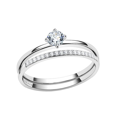 4x4mm Round Clear CZ Stainless Steel Small Delicate Band Wedding Ring Set - Size 8 ()