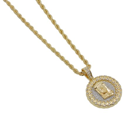 Gold-Plated Iced Out Hip Hop Bling Cuban Link Style Jesus Round Pendant and Rope Chain (Iced Out Jesus Pendant)