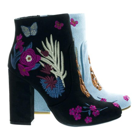 Namaste11 by Bamboo, Floral Embroidery Block Heel Ankle Bootie w Faux Fur Lining