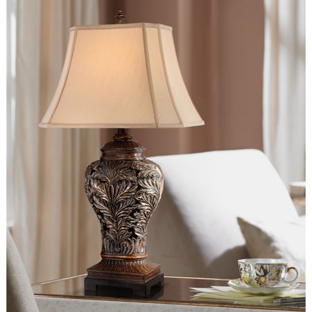 Barnes and Ivy Traditional Table Lamp Bronze Curling Leaves Tan Rectangular Shade for Living Room Family Bedroom Bedside Lace Traditional Table Lamp