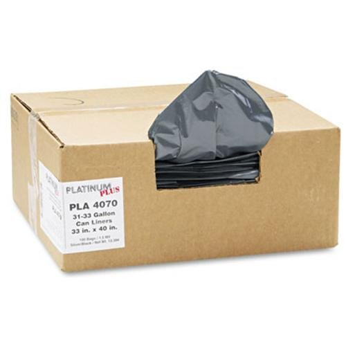 """Platinum Plus Pla4070 Linear Low Density Can Liner - 33 Gal - 33"""" X 40"""" - 1.35mil Thickness - Resin - 100 / Carton - Silver, Black (PLA4070)"""