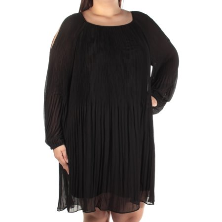Pleated Shift Dress - INC Womens Black Cold Shoulder Pleated Long Sleeve Jewel Neck Above The Knee Shift Dress  Size: XL