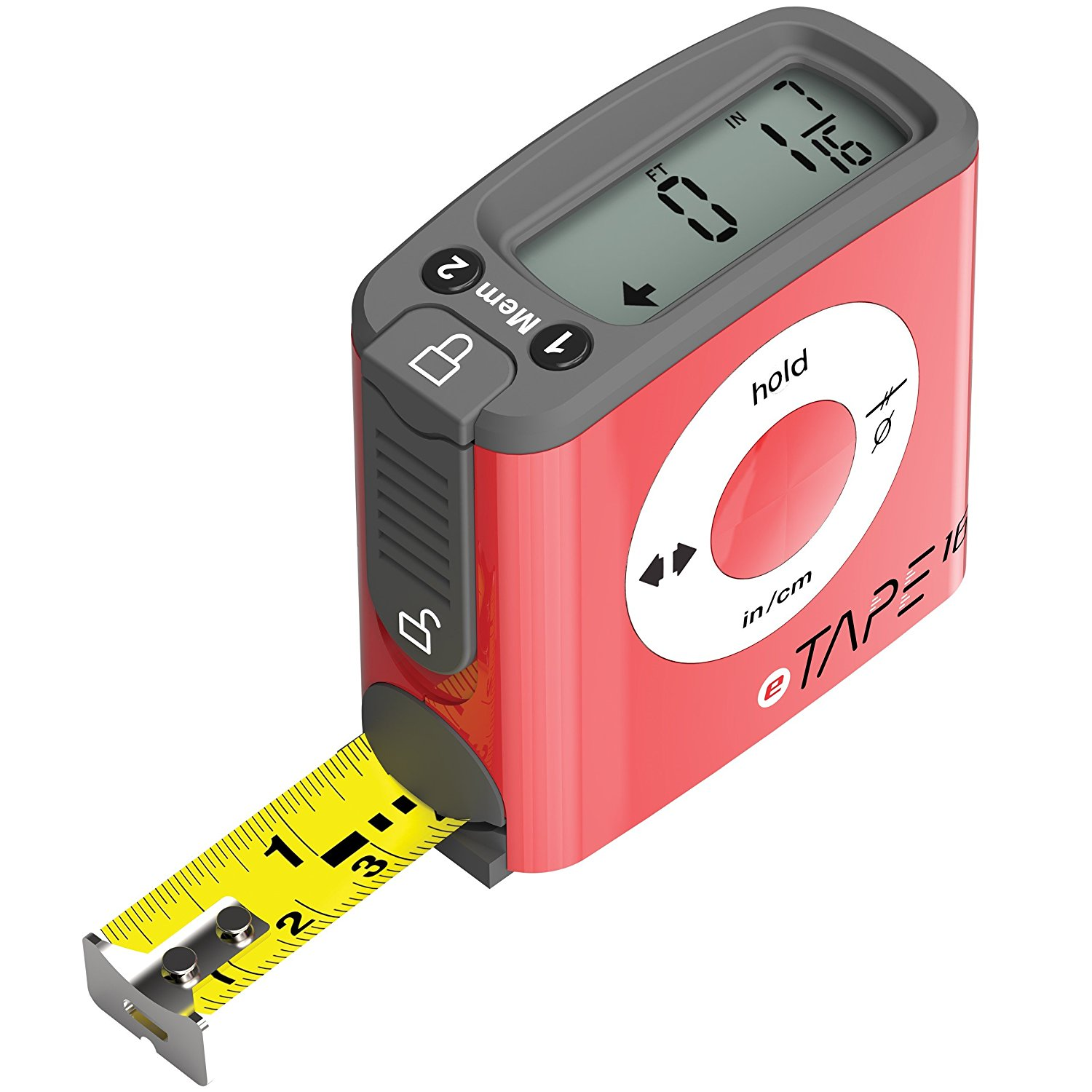 ET16.75-DB-RP Digital Tape Measure, 16', Red, Inch and Metric, The original digital tape measure. Measuring made easy the digital way By eTape16