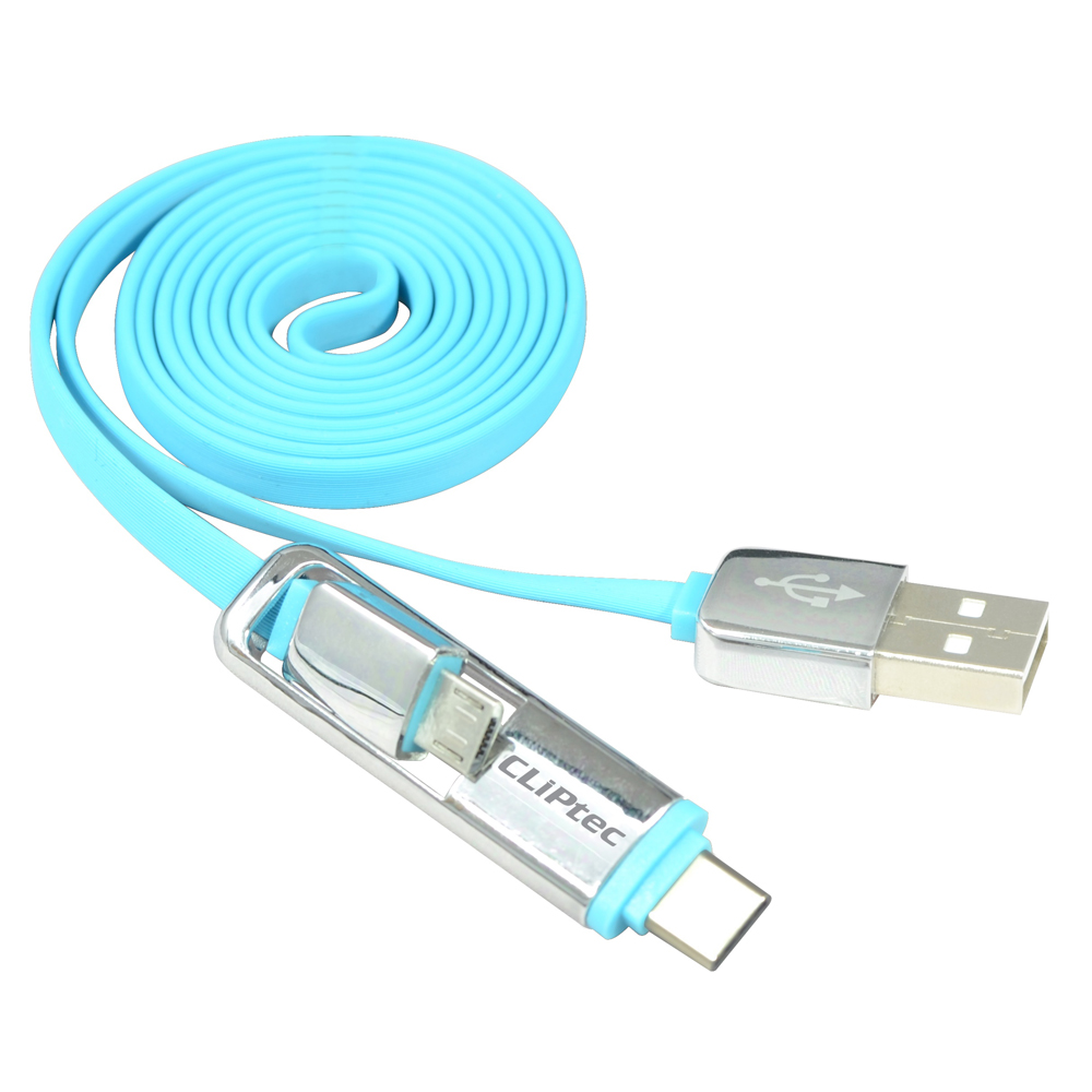 Cliptec 1m 3ft Blue Dual-Micro USB 2.0 Micro B + Type C Data Charging Cable