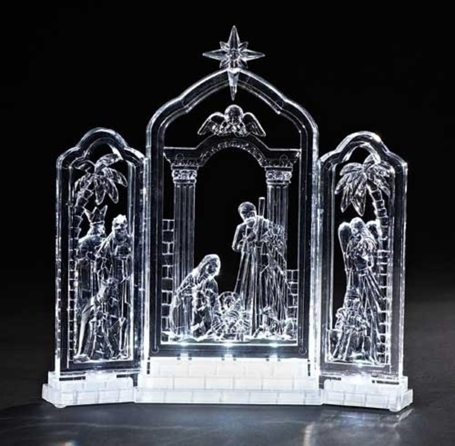 "10"" Icy Crystal LED Lighted Religious Christmas Nativity Triptych Decoration"