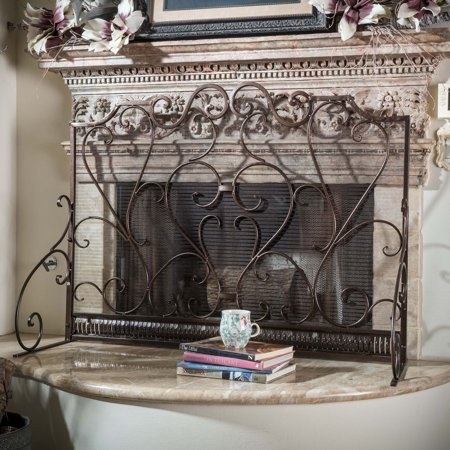 Noble House Franklin Fireplace Screen (Contemporary Wood Fireplace Screen)