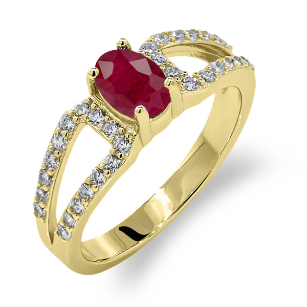 1.50 Ct Oval Red Ruby 14K Yellow Gold Ring