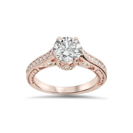 1 1/4ct Vintage Rose Gold Diamond (1ct center)  Deco Engagement Ring