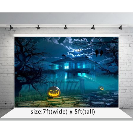 MOHome Polyster 7x5ft Halloween Photo Backdrops Pumpkin Face Horrible House Photography Backgrounds](Halloween Pumpkin Faces Photos)