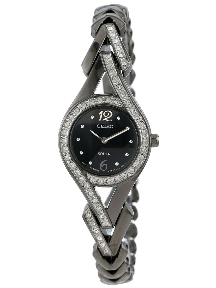Seiko SUP177 Women's Classic Solar Black Dial Black Ion Plated Steel Watch