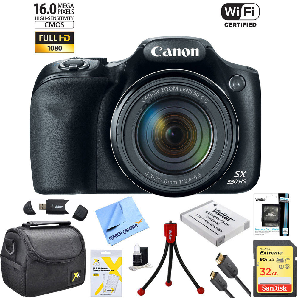 Canon Powershot SX530 HS 16MP Wi-Fi Super-Zoom Digital Camera w/ 50x Optical Zoom Ultimate Bundle Includes Deluxe Camera Bag, 32GB Memory Card, Extra Battery, Tripod, Card Reader, HDMI Cable and More