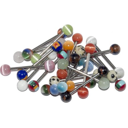 20 Glass Tongue Rings Straight Barbells 14G 5/8