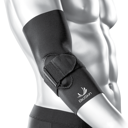 BioSkin Tennis Elbow Brace - Elbow Compression Sleeve with Support Strap and Gel Pad - For Tennis Elbow and Golfer's Elbow and Tendinitis (S)