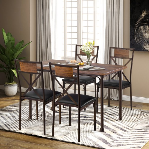 Harper & Bright Designs 5-Piece Wood and Metal Industrial Style Dining Set