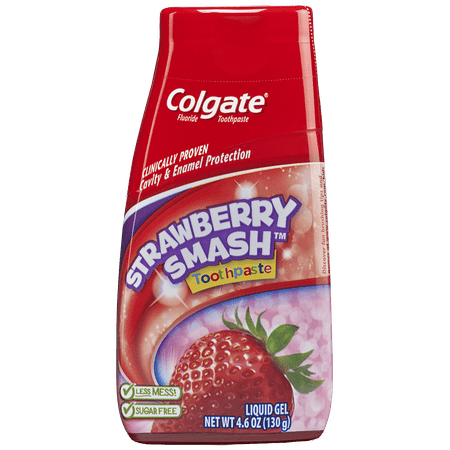 Colgate 2-in-1 Kids Toothpaste and Anticavity Mouthwash, Strawberry Smash, 4.6 ounces - Kids Dental Gel Strawberry