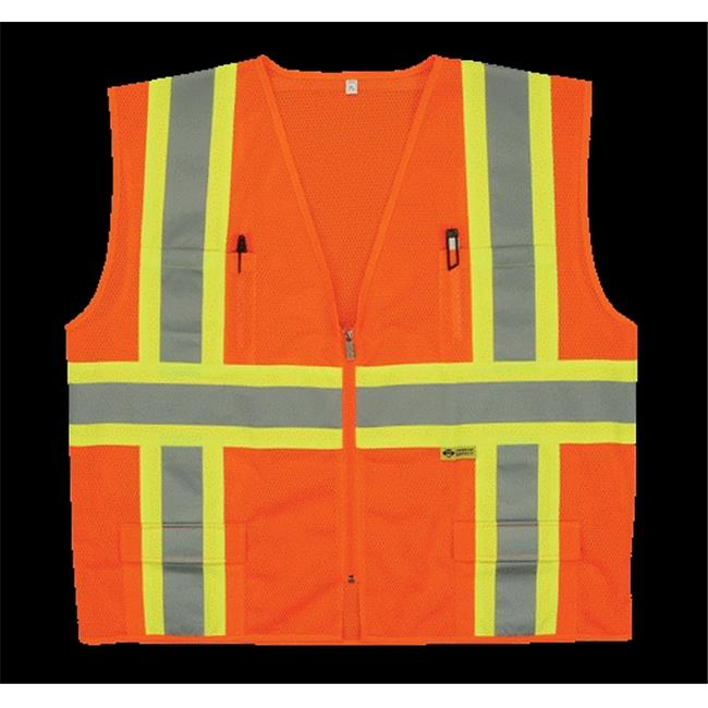 2W M7038C-2 4XL Class 2 Mesh Multi-Pocket Vest - Orange, 4 Extra Large