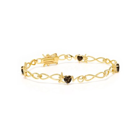 1.76 Ct Heart Shape Brown Smoky Quartz 18K Yellow Gold Plated Silver Bracelet