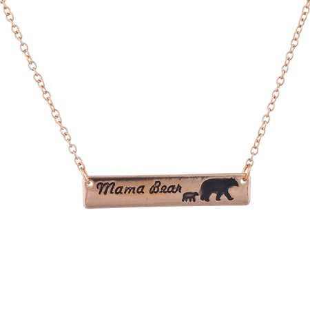 Lux Accessories Rose Gold Tone Mama Bear Mother One Cub Charm Pendant Necklace