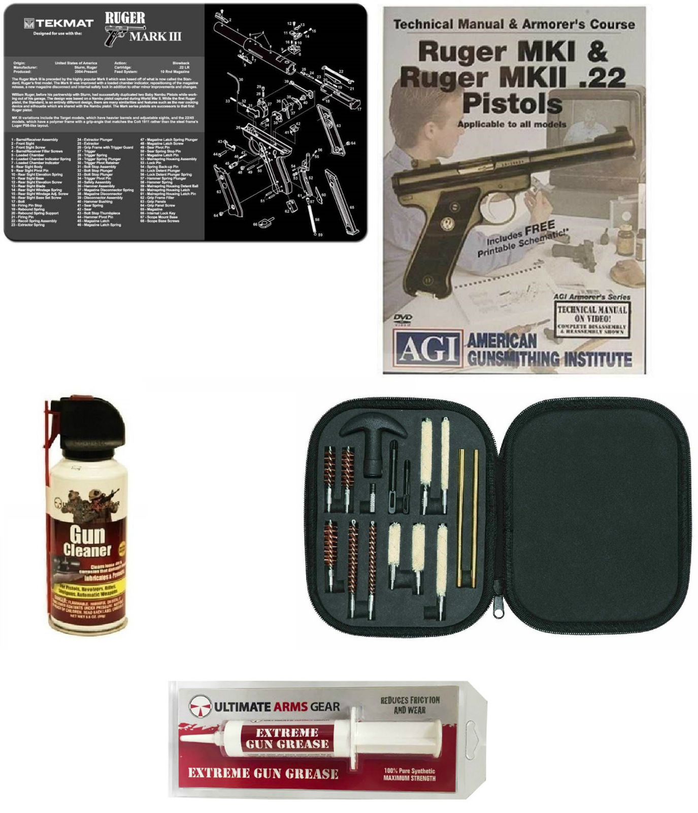 Ultimate Arms Gear Gunsmith Cleaning Gun Mat Ruger MK III Mark III 3 + Professional Cleaning Supplies Kit 17 pc Cleaning... by