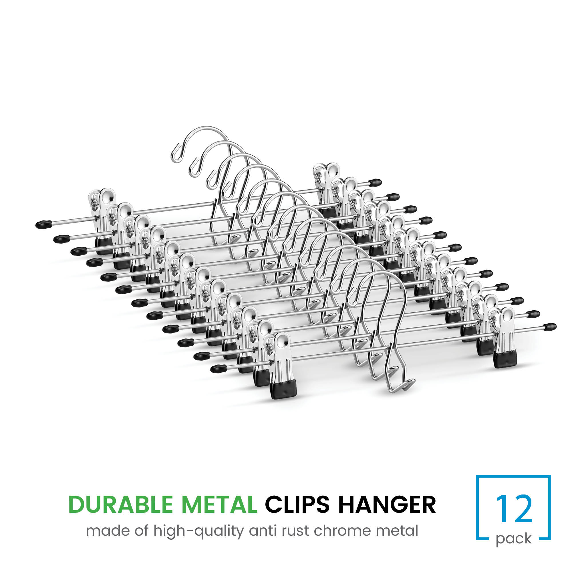 Heavy-Duty Add-On Skirt Hangers with Clips 12 Pack Adjustable Clip Pants Hanger Multi Stackable Add on Hangers
