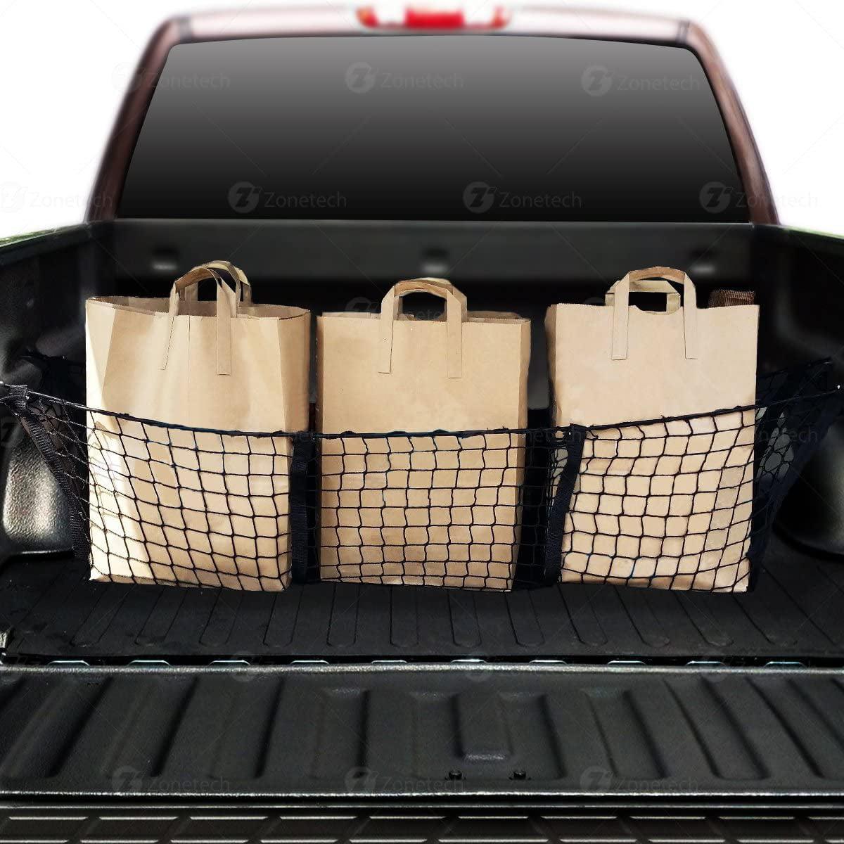 Rear Cargo Trunk Storage Organizer Universal Adjustable Elastic Truck Net with Hooks Storage Mesh Organizer Bungee for Car Truck Cargo Net Stretchable 90x40cm SUV