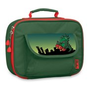 Bixbee Boys Girls Green Dino Insulated Flap Pocket Lunch Box
