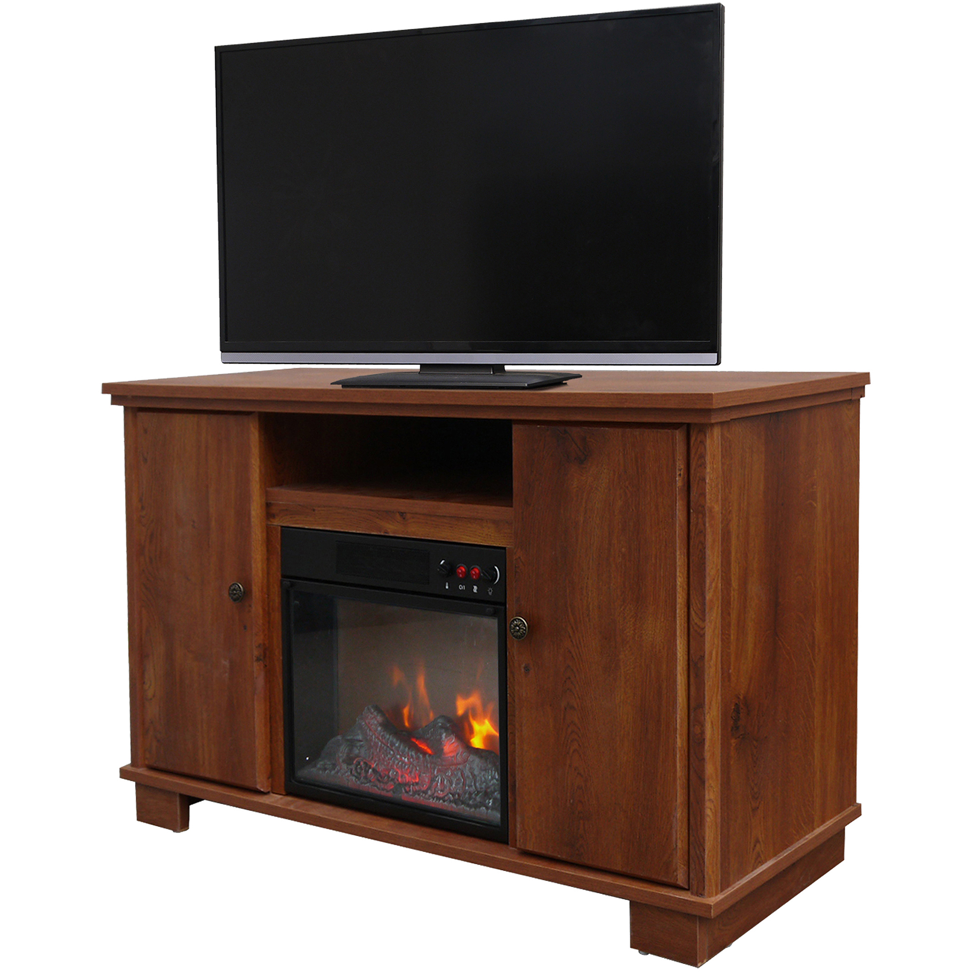 "Décor Flame Yellowknife 48"" Media Fireplace, for TVs up to 55"", Oak"