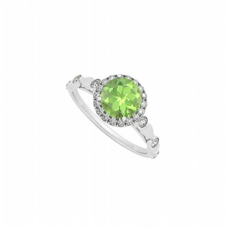 Fine Jewelry Vault UBNR50567AGCZPR August Birthstone Round Peridot & CZ Engagement Ring in Sterling Silver, 6