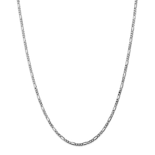 14k White 20in Gold 2.75mm Flat Figaro Necklace Chain by Jewelrypot