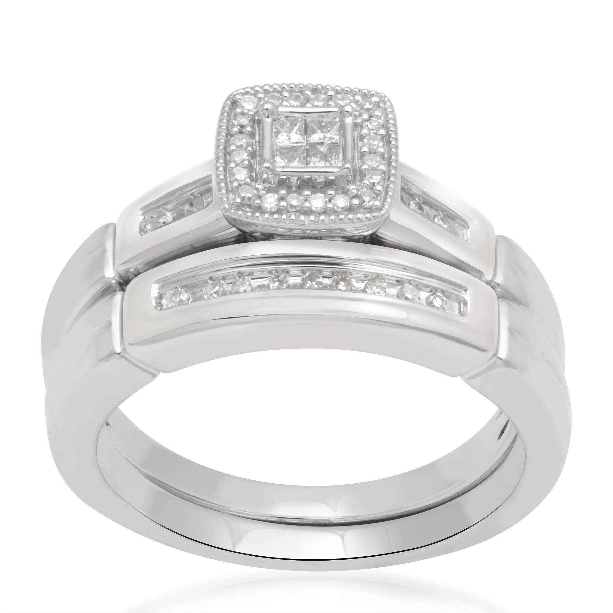 Forever Bride 1/5 Carat T.W. Diamond Sterling Silver Bridal Set